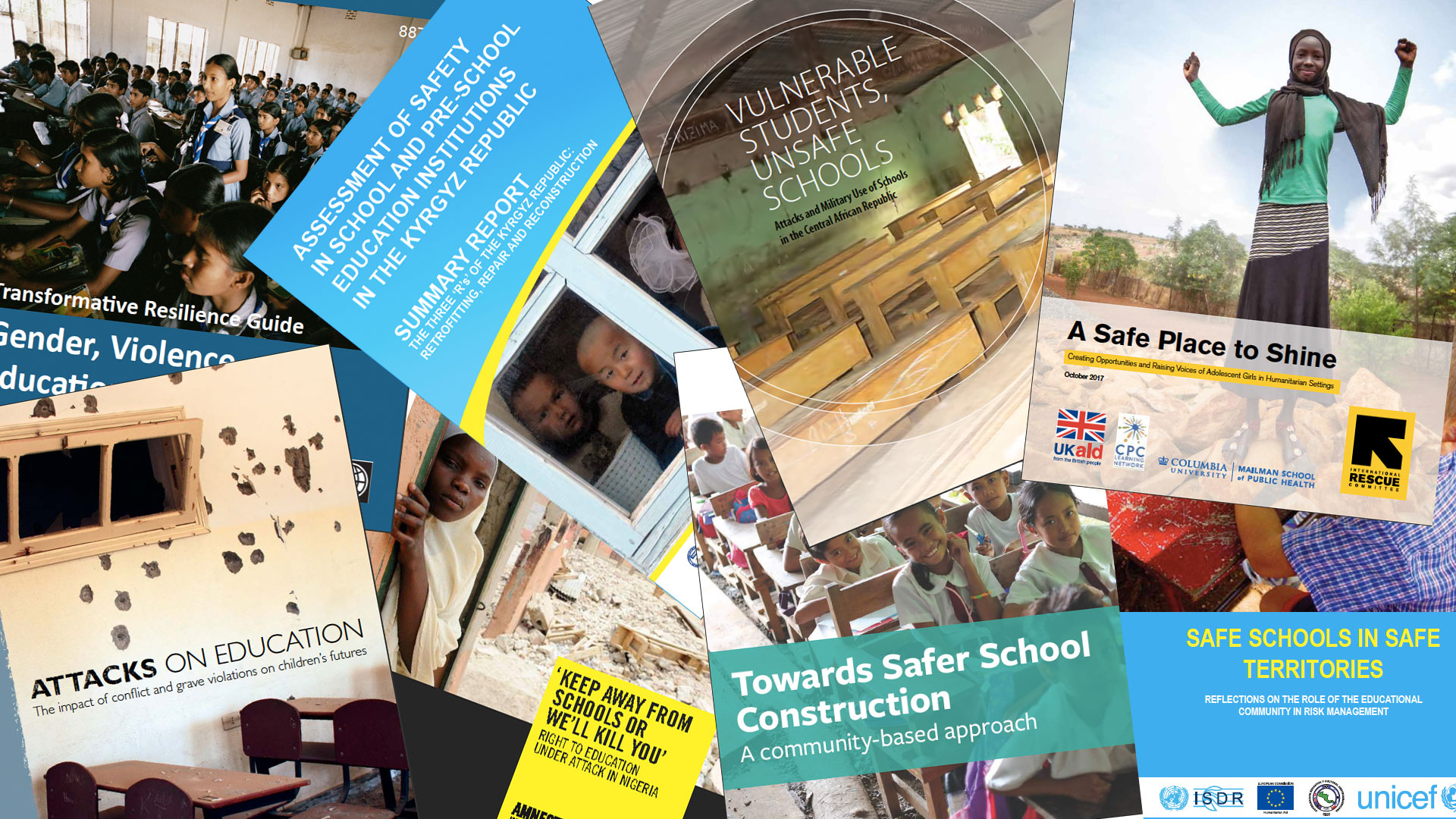 Booklets from Education International, Amnesty International, Watchlist on Children and Armed Conflict, Save The Children,International Rescue Committee, The World Bank and Unisef.